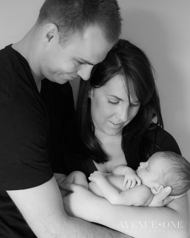 black and white family newborn session