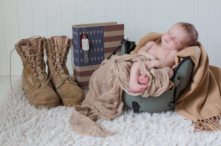 patriotic army newborn photography