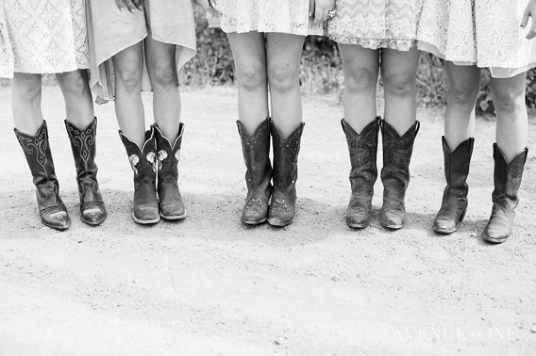 bridesmaids cowboy boots with lace dresses