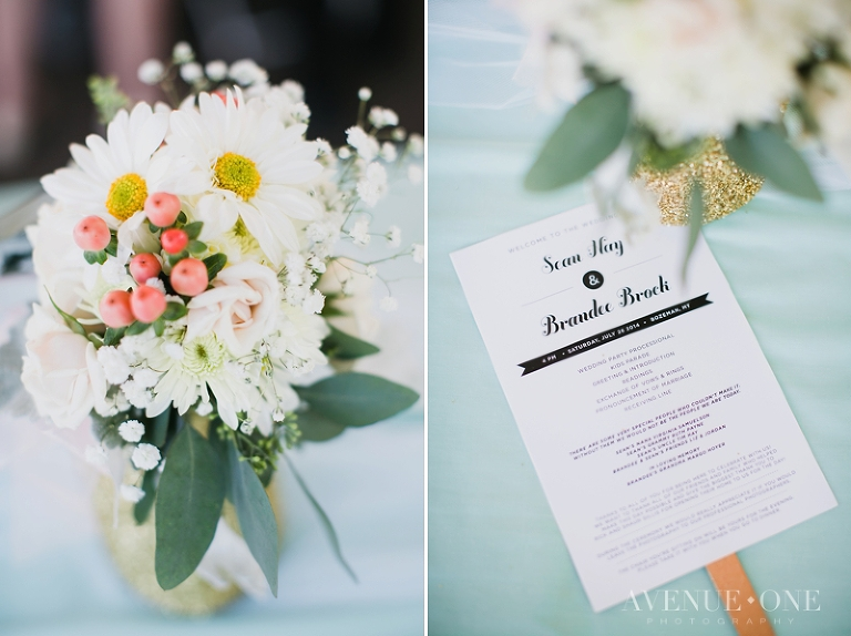mint wedding program fan