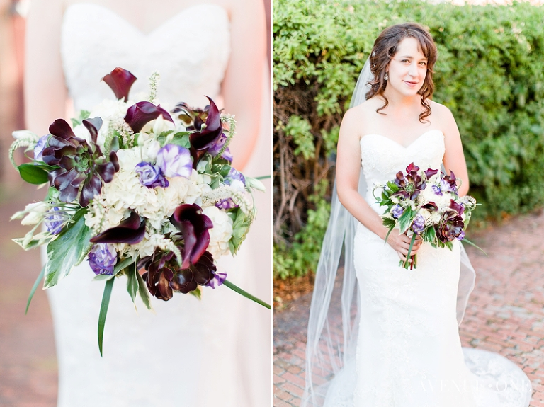 bride with purple bouquet with succulents