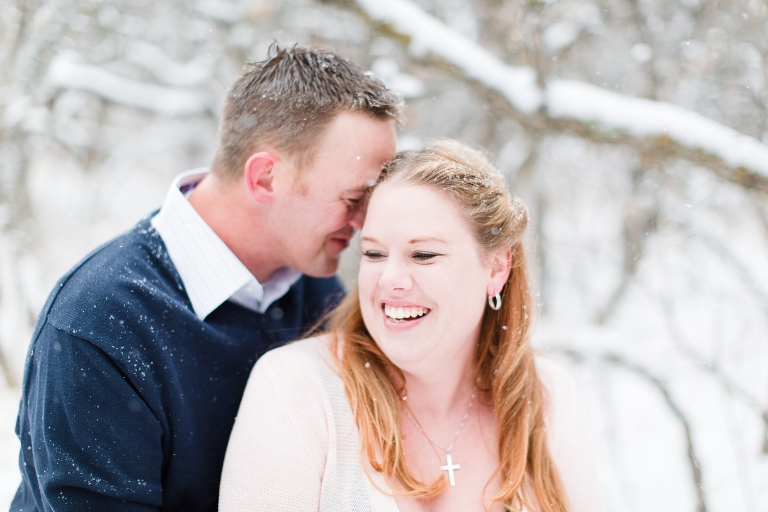 snowy mountain engagement photo