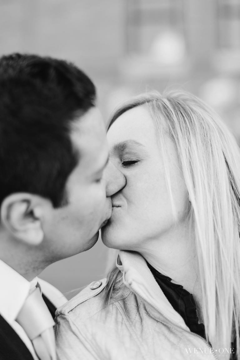 black-and-white-denver-downtown-engagement-photo
